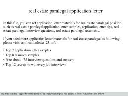 Cover Letter For Paralegal Position Real Estate Paralegal Cover