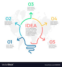 Light Bulb Infographic Idea Chart With 5 Steps