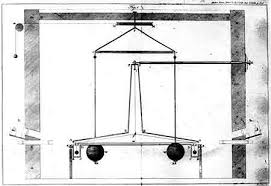 torsion balance. the torsion balance experiment of henry cavendish who in 1797 was first to experimentally measure gravitational constant g. courtesy journal s