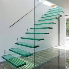 interior modern floating staircase tempered glass stair with glass railing design