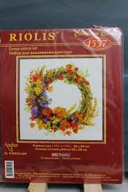 Cross Stitch Kit Wreath With Wheat By Riolis