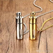 whole men necklaces stainless steel glass cylinder aromatherapy essential oil perfume pendant necklace cremation urn jewelry pn 720 blue pendant
