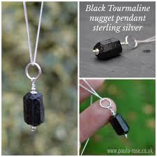 stressbusting negative energy emf protection black tourmaline raw nugget chain in sterling silver stress busting positivity protection