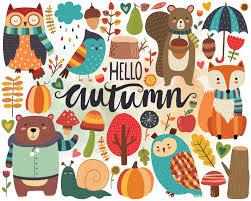 Autumn Woodland Clipart Fall Clipart Autumn Clip Art | Etsy