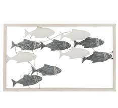 wall decoration swimming fish metal