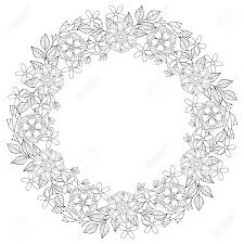 Floral Zentangle Doodles Wreath In Ornamental Style Vector Circle