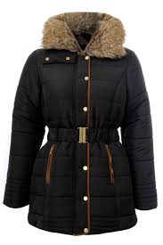 New Ladies Plus Size Padded Quilted Belted Winter Coats Fur Neck ... & New-Ladies-Plus-Size-Padded-Quilted-Belted-Winter- Adamdwight.com