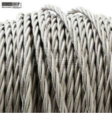 fabric lighting cable 3 core. Grey Color 100meters/roll Free Shipping Twisted Silk Braided Vintage Fabric Coloured Lighting Cable 3 Core H