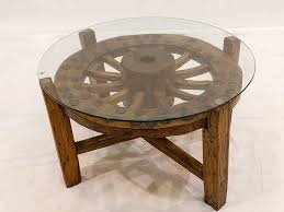 Wooden and Wagon Wheel Coffee Table