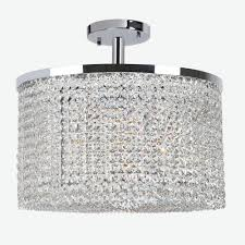 prism collection 9 light chrome finish crystal string semi flush mount ceiling light 20 d