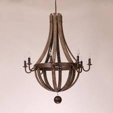 rustic wine barrel wood rust metal chandelier ceiling light fixture lamp decor