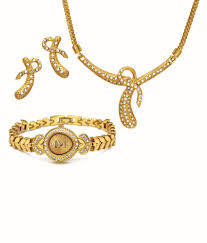 Devita Designer Jewellery Devita Gold Plated Designer Necklace Set With Wrist Watch
