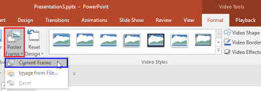 poster format powerpoint poster frames for videos in powerpoint 2016 for windows