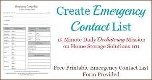 Emergency List Free Printable Emergency Contact List Form