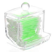 Amazon.com: Vnfire Clear Acrylic Cotton Swabs Balls Q-tip Cosmetics Makeup  Storage Holder Box Organizer: Beauty