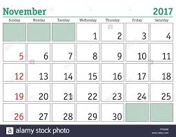 simple digital calendar for november 2017 vector printable