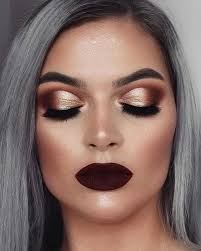 gold and burgundy for fall makeup looks