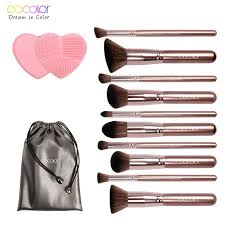 docolor makeup brushes professional brand make up brushes set with bag coffee color with brush clean top synthetic hair makeup organizer permanent makeup