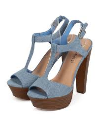 women denim p toe t strap wooden chunky heel sandal