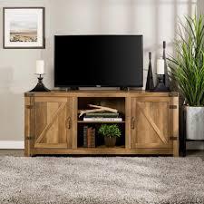 walker edison furniture pany 58 in rustic oak barn door tv stand with side doors