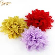 18pcs lot 3 5 tulle lace rose flowers girls diy hair accessories for kids solid flowers hair bow hair clips headbands