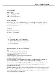 Mai Le's Resume Contact Details Name: Mai Le D.O.B: 11 September, ...