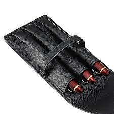 fountain pen roller black leather pouch pen case stationery for 3 pens