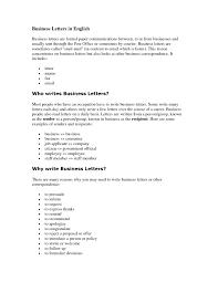 English Business Letter Sample The Letter Sample