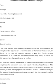 letter of recommendation for former employee template 15 employee recommendation letters free download