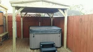 wooden garden pergola hot tub shelter 2 7m x 2 7m