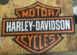 harley davidson wall sign stained and
