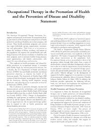 occupational therapy in the promotion of health and the prevention  first page pdf preview