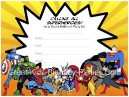 superheroes party invites superhero printables