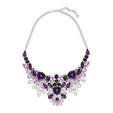 impulse palladium purple multi crystal large necklace 5152821