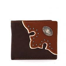 genuine leather western lone star concho bi fold man s short wallet coffee