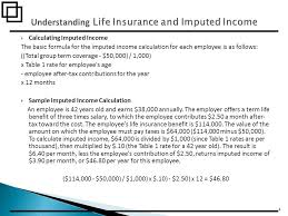 calculating imputed income the basic formula for the imputed income calculation for each employee is 5 voluntary term life insurance