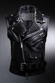 real goat leather custom black metal stud all over vest