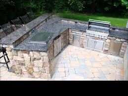 outdoor kitchen barbeque project featuring natural thin stone veneer