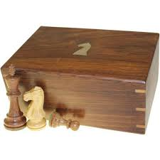 hand carved wooden chess set brass inlaid box for storing pieces