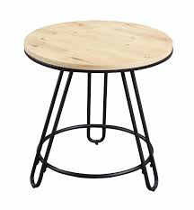 emerald home penbrook natural oak and black round end table with round wood top and metal