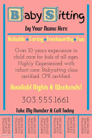 Babysitting Templates Flyers Create Amazing Flyers For Your Babysitting Business By