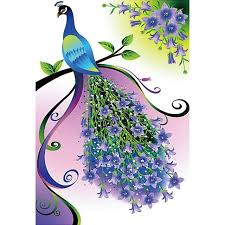 Peacock Pattern Fascinating 48D DIY Diamond Painting Purple Peacock Pattern Wall Stickers