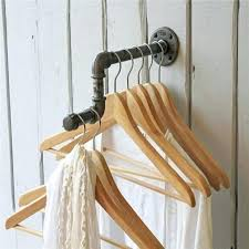 hanging laundry rack industrial pipe wall hooks clothes vintage mounted rail clothing shelf home bathroom hanging laundry rack