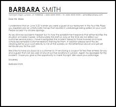 apology letter for bad service