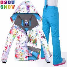 GSOU SNOW Brand Ski Suit <b>Women</b> Waterproof <b>Skiing Jacket</b> + ...