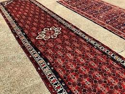 4 x 12 runner rug hand knotted red blue antique 1