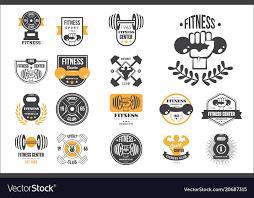 set of retro fitness logo templates vector image
