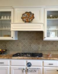 kitchen maple wood cabinets painted white down benjamin moore shiny porcelain backsplash tile granite