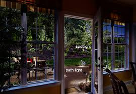 a patio viewed from the home s interior outed with landscape lighting