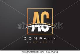 ac logo design. ac a c golden letter logo design with swoosh and rectangle square box vector design. ac